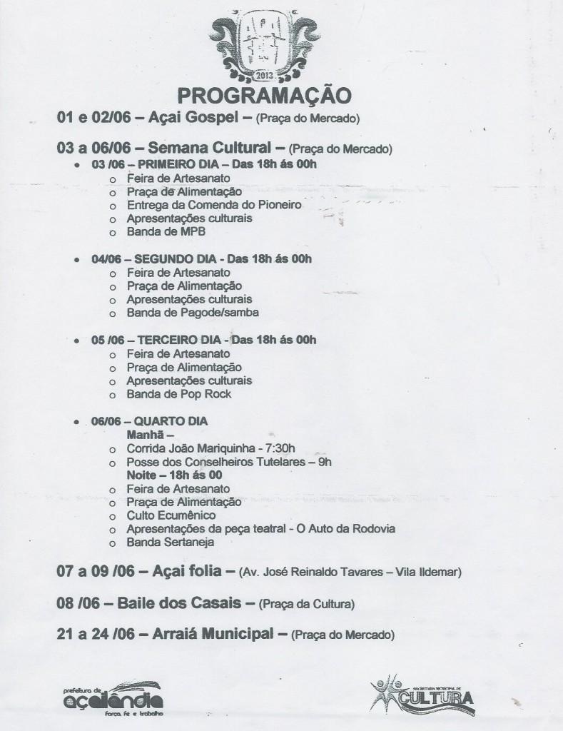 progamação do Açai-Gospel ESSA