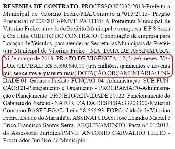 Vitorino-Freire contrato