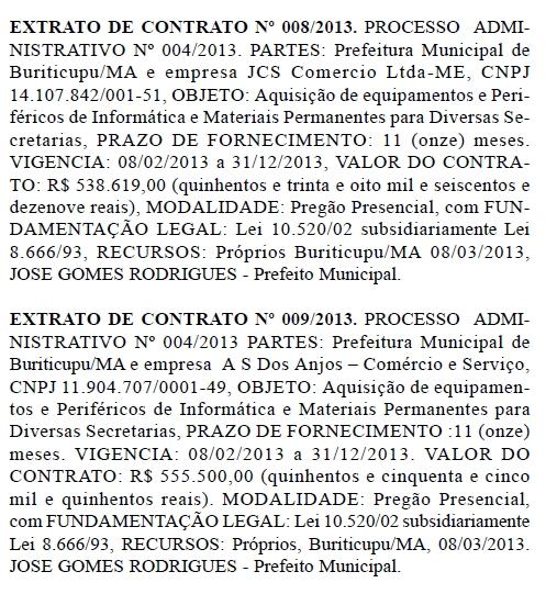 Resenhas de Contrato MAT. DE INFORMÁTICA