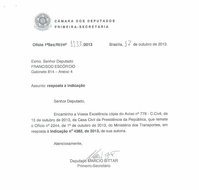 Resposta ao Deputado Chiquinho Escórcio